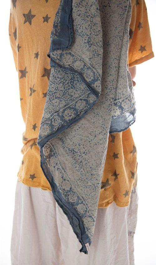 Cotton Voile Blockprint Handkerchief, Magnolia Pearl