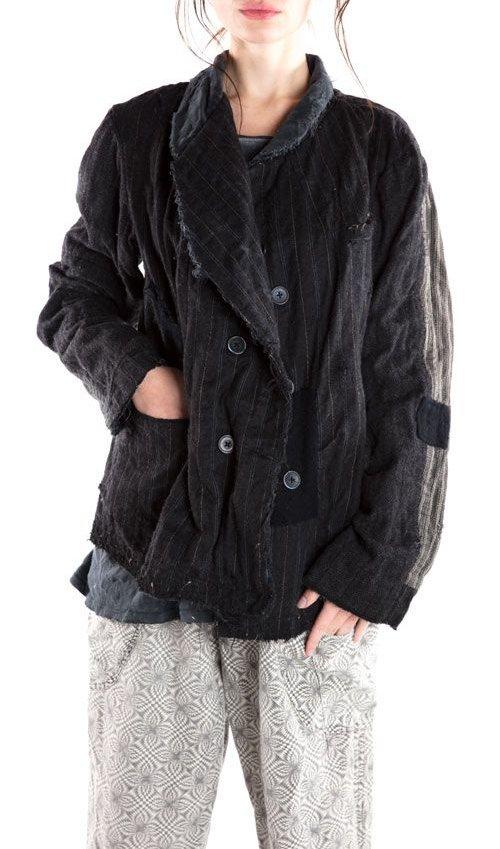 Pinstripe Wool Bennet Jacket, Magnolia Pearl
