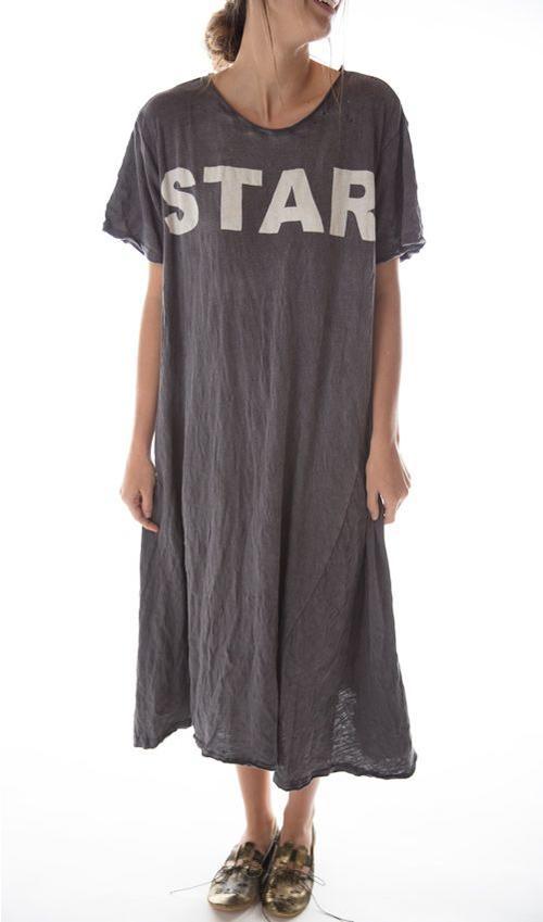Cotton Jersey Bold Star T Dress, New Boyfriend Cut, Magnolia Pearl