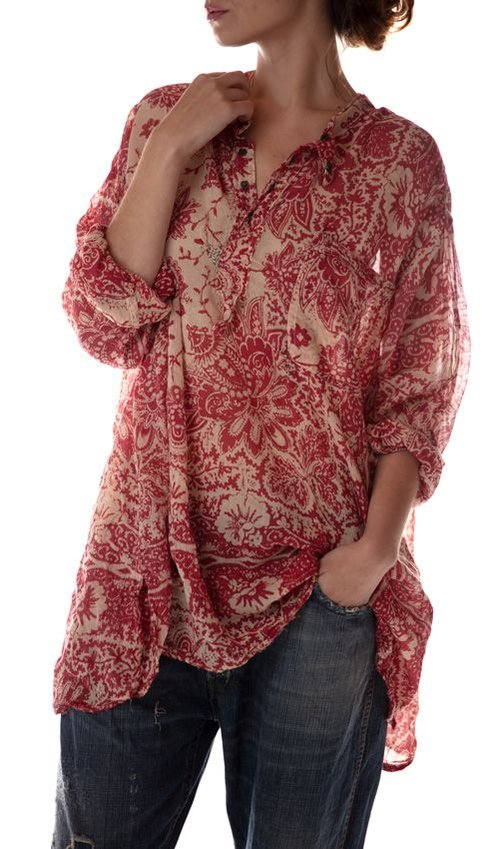 Cotton Sitting Bull Shirt with Sunfading and Mending, Magnolia Pearl