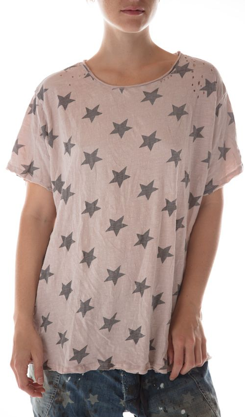 Cotton Jersey Big Dipper T, New Boyfriend Cut, Magnolia Pearl