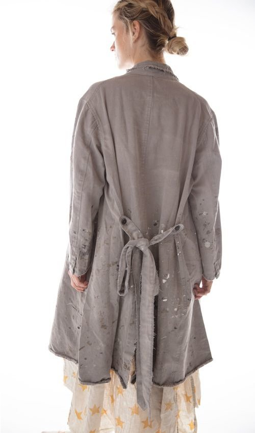 Canvas Twill Rivera Mural Coat with Pockets, Hand Aged and Distressing, Paint and Stains, Magnolia Pearl