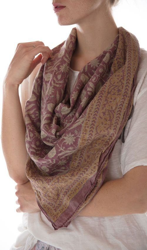 Woven Cotton Madam Mim Hand Blocked Printed Scarf, Magnolia Pearl