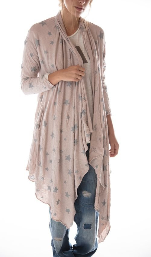 Cotton Jersey Galaxy Karesa Cardigan with Pockets and Raw Edges, Magnolia Pearl