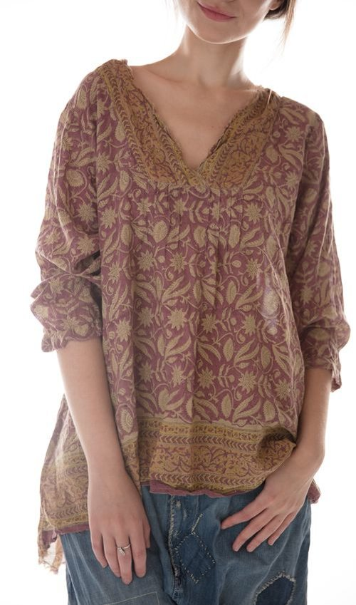 Hand Block Printed Cotton Bondi Blouse with Raw Neck and Pleats, Button Opening at Sleeves