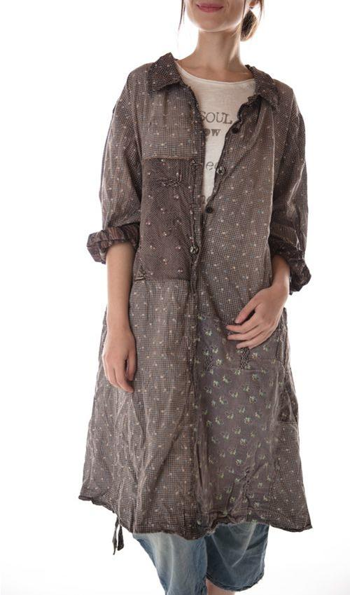 European Cotton Ella Calico Dress with Sunfading, Patches and Mending, Pockets, Magnolia Pearl