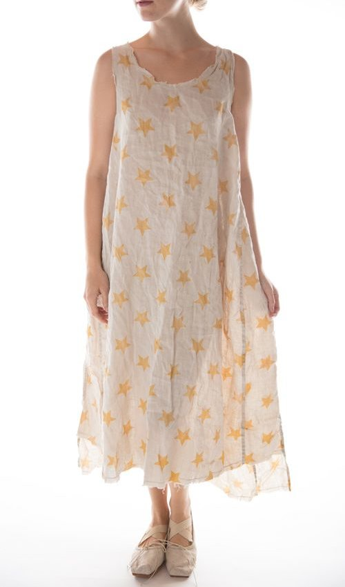 European Linen Big Dipper Layla Tank Dress with Raw Edges, Magnolia Pearl