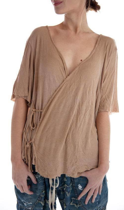 Ribbed Cotton Viscose Origami Wrap Blouse with Distressing, Magnolia Pearl