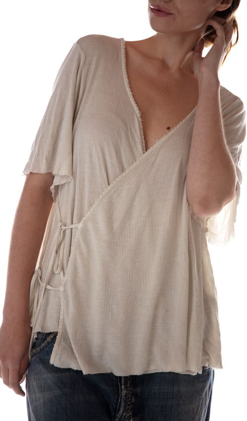 Ribbed Cotton Jersey Origami Wrap Blouse with Distressing, Magnolia Pearl