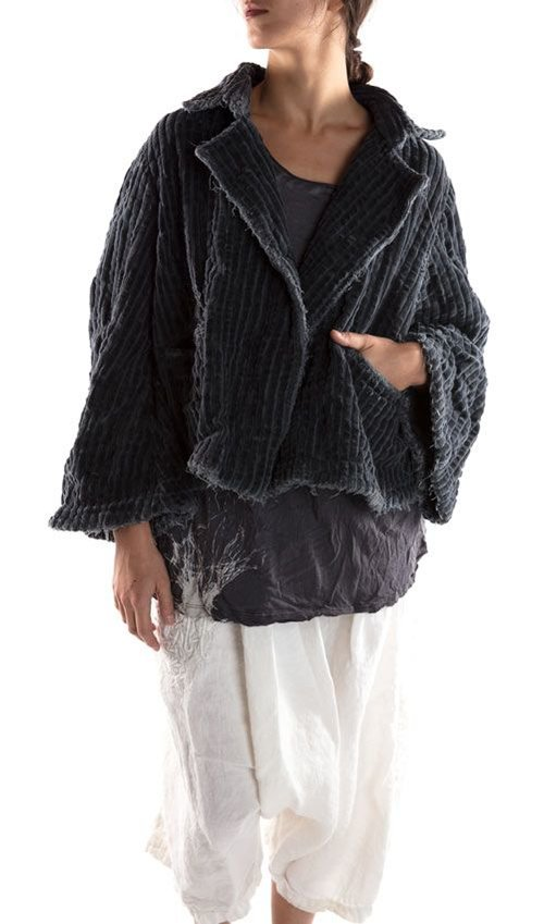 Quilted Cotton Velvet Darjeeling Swing Coat with Bell Sleeves, Hand Distressing and Mending, Black Buttons