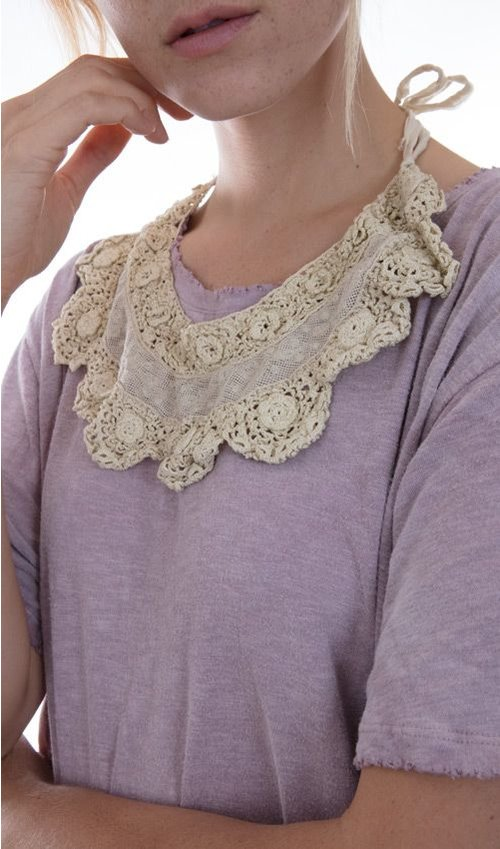 Ninnie Hand Crocheted with Cotton European Lace Collar Neck Piece, Magnolia Pearl