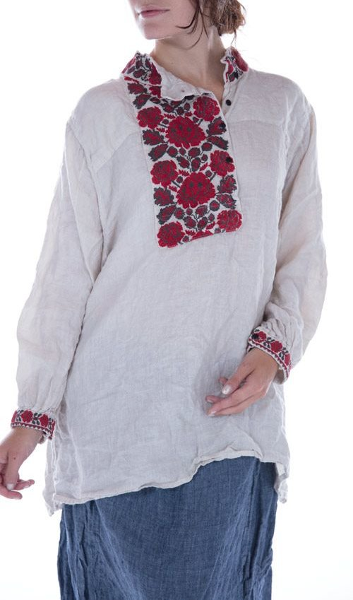 European Linen Nourah Blouse with Heavy Embroidery at Collar, Placket and Cuffs, Black Buttons, Magnolia Pearl