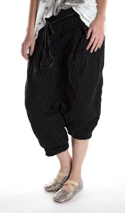 Wool Pinstripe, Flynn Trousers, Cotton Twill Lining, Elastic Waist, Drawstring, Side Buttons