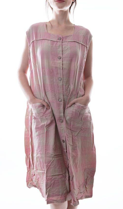 Cotton Avigail Sleeveless Smock Dress with Buttons Down the Front, Pockets and Hand Stitched Patches and Mending