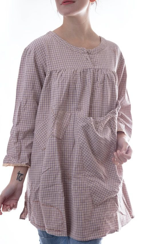 European Cotton Cella Top with Two Buttons in Front, Long Sleeves, Big Pocket in Front and Handstitched Patches and Mending