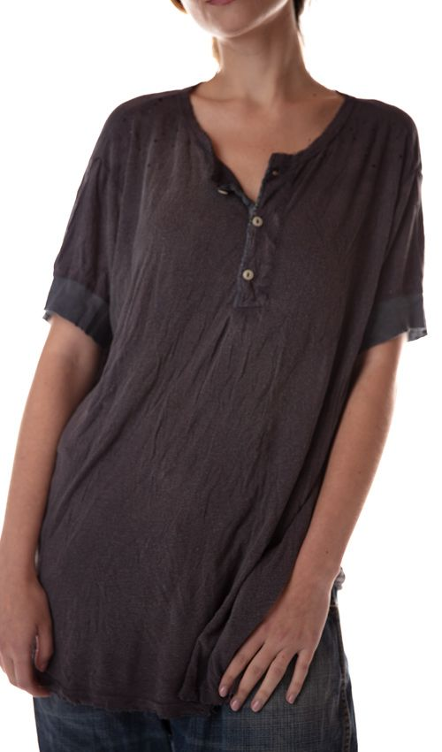 Cotton Jersey Boyfriend Henley with Distressing and Three Button Placket, Magnolia Pearl