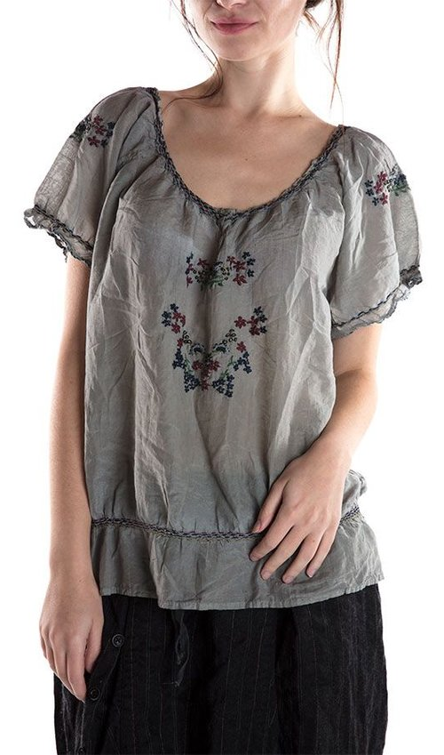 Hand Embroidered Cotton Silk Isla Peasant Blouse, Neck and Side Snaps, Magnolia Pearl