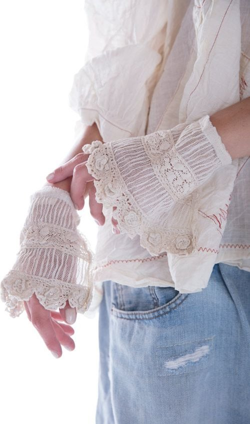 Cotton Tulle and Rose Lace Clara Cuffs with Antique Snaps and Hand Crochet Florets in Creme