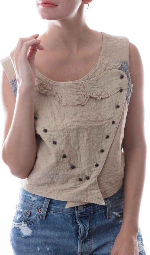 European Cotton Lucius Tank with Button Front and Ruffle Neckline