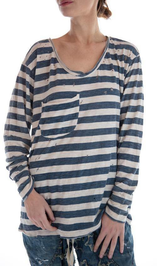 Cotton Jersey Long Sleeve Nautical Sofiane T with Pocket and Distressing, Magnolia Pearl