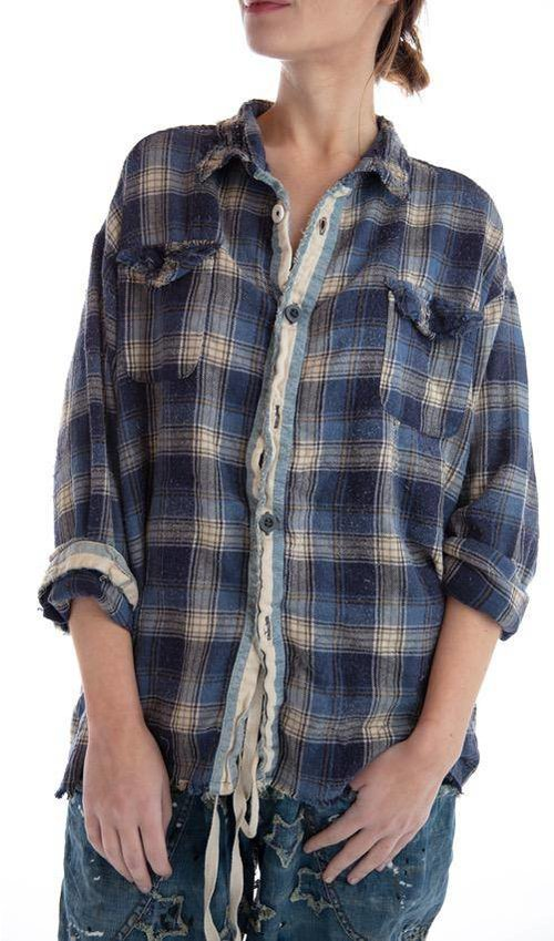 Cotton Flannel Eddie Workshirt with Mixed Buttons, Denim Placket, Distressing, Mending and Fading, Magnolia Pearl
