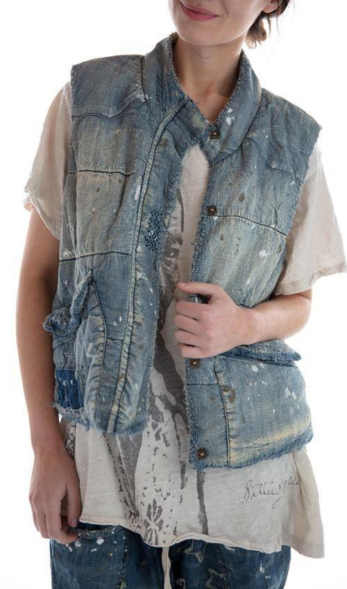 Cotton Denim Hartley Puff Vest with Pockets, Fading, Mending and Distressing, Magnolia Pearl