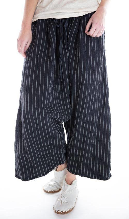 Cotton Twill Jai Wide Leg Trouser with Drawstring Waist and Distressing, Magnolia Pearl