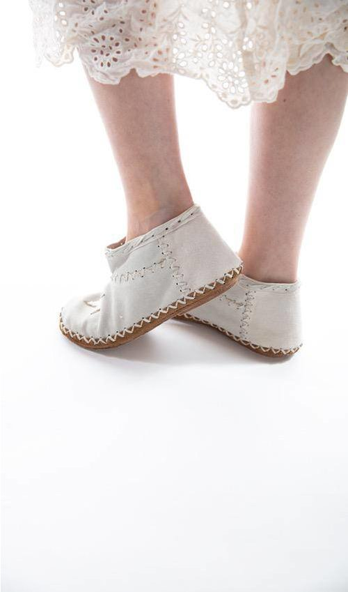 All Leather Star Beaded Sedona Moccasins with Hand Detailing, Magnolia Pearl