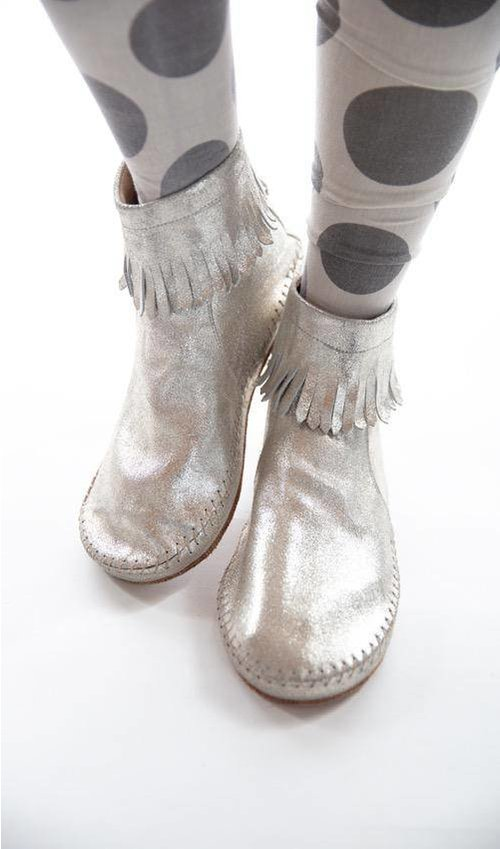 All Leather Topsannah Fringe Moccasins with Hand Stitching Detail and Zip Closure at Back, Magnolia Pearl