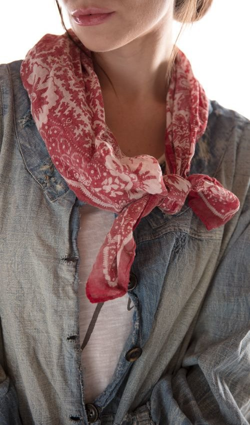 Cotton Early American Bandana Scarf, Magnolia Pearl