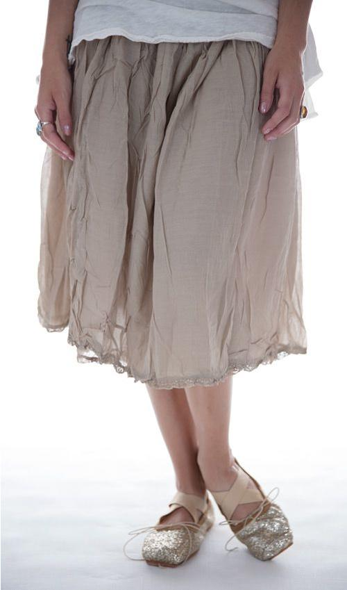 Silk Cotton Penelope Slip Skirt with Elastic Waist and Lace Trim