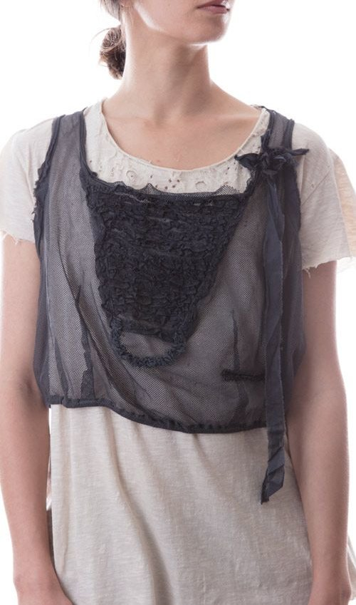 Cotton Tulle Olive Mae Cropped Layering Tank with Rows of Cotton Lace, Silk Ribbon and, Antiqued Hook and Eyes