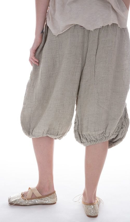Handwoven European Linen Vergie Pants with Full-Length Front Pockets in Moss
