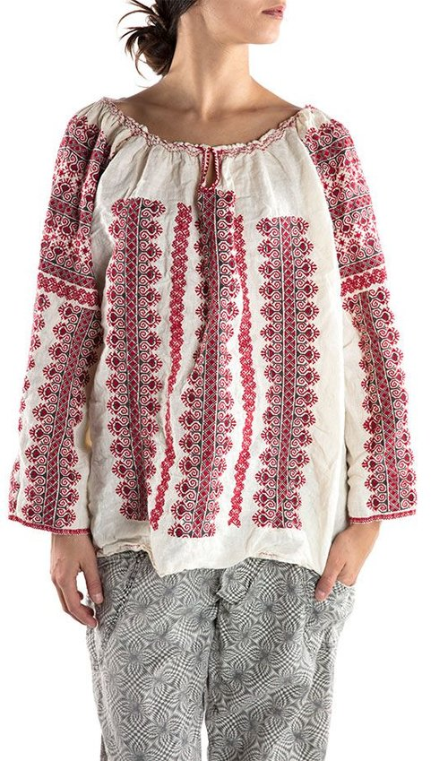 European Linen Selime Blouse with Cross-Stitch Embroidery, Gathered Neckline with Hook and Bell Sleeves, Magnolia Pearl