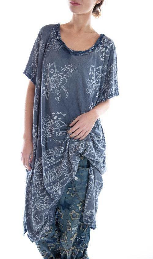 Cotton Jersey Hand Block Print Bali Beau T Dress, Magnolia Pearl