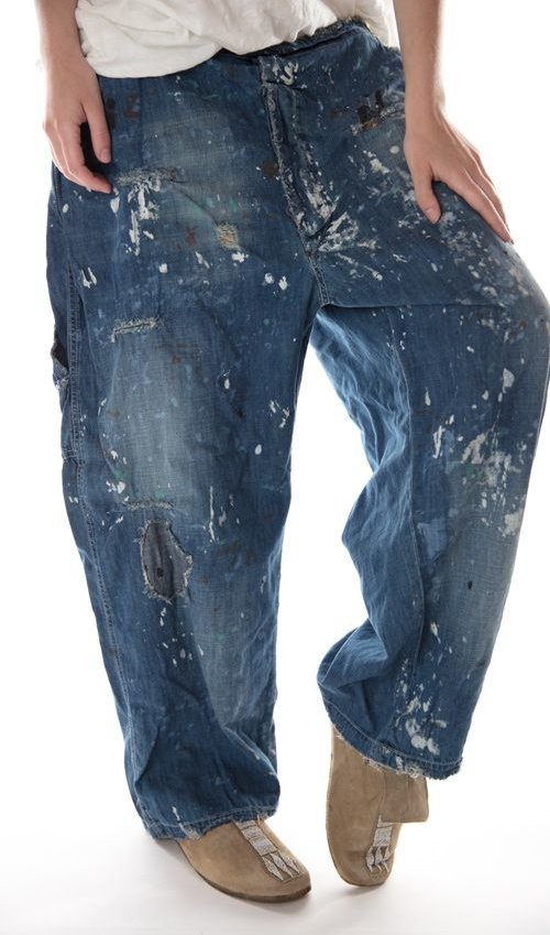Cotton Sanforized Denims with Hand Age, Distressing, Mending and Printing, Side Buttons, Magnolia Pearl