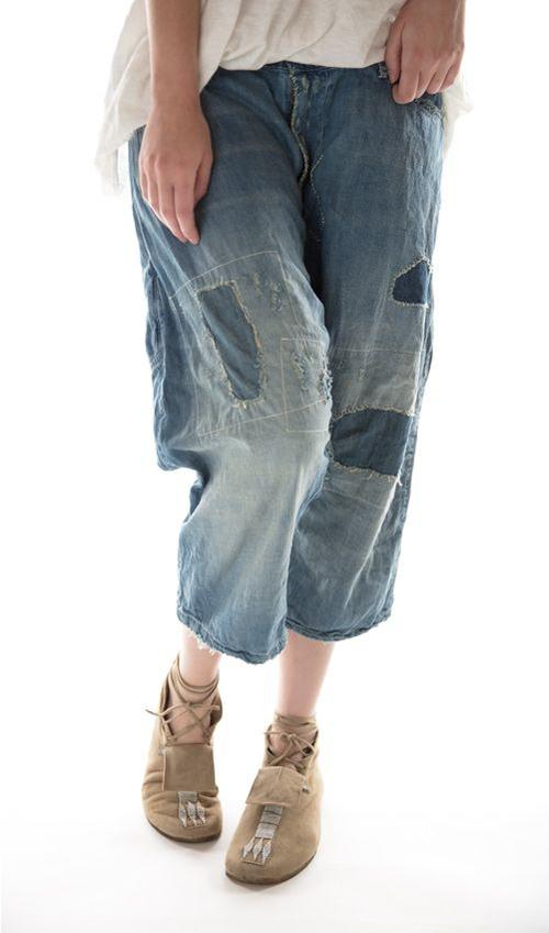 Cotton Mister Jeans with Hand Age, Distressing and Mending, Zip Fly, Magnolia Pearl