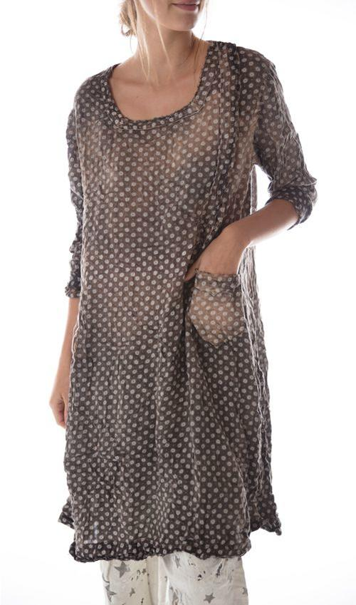 Cotton Twill Soraya Dress with Hand Aging, Mending, Pockets and Snap Closures at Neck, Magnolia Pearl