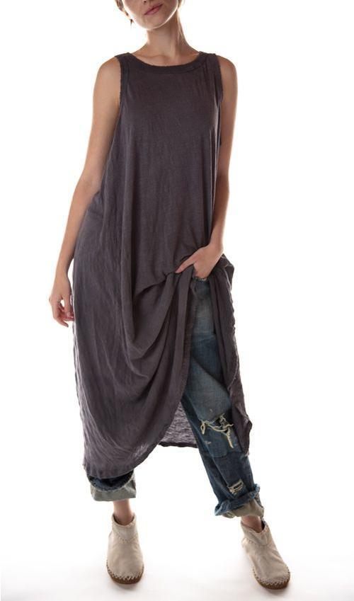 Cotton Jersey Ari Retro Fit Tank Dress, Magnolia Pearl