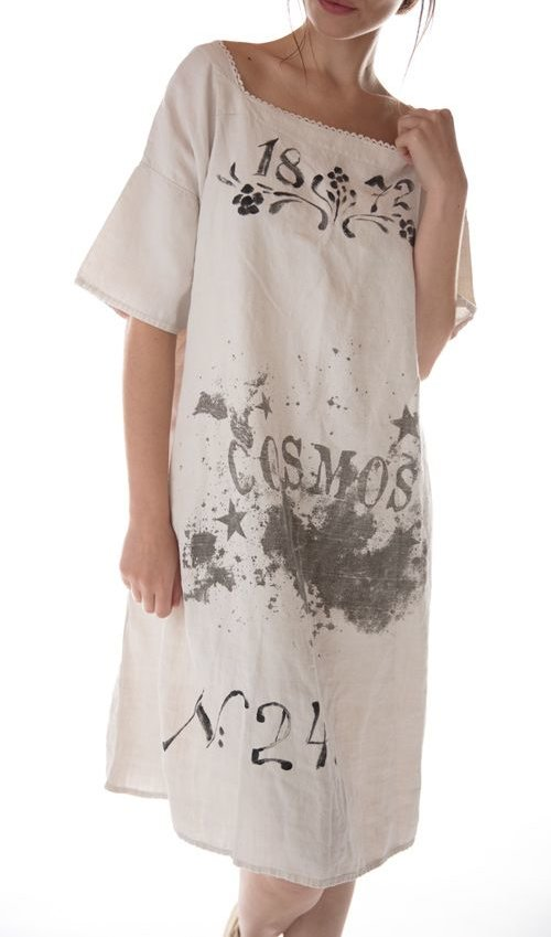 Cosmos Specialty Hand Painted European Linen Dress