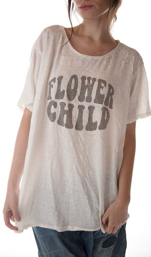 Cotton Jersey Flower Child T, New Boyfriend Cut, Magnolia Pearl
