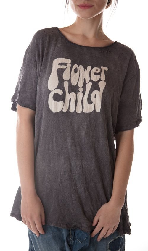 Cotton Jersey Flower Child T, New Boyfriend Cut, Magnolia Pearl