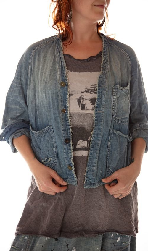 Cotton Denim Cosmik Union Cropped Jacket with Patching, Mending and Distressing, Magnolia Pearl