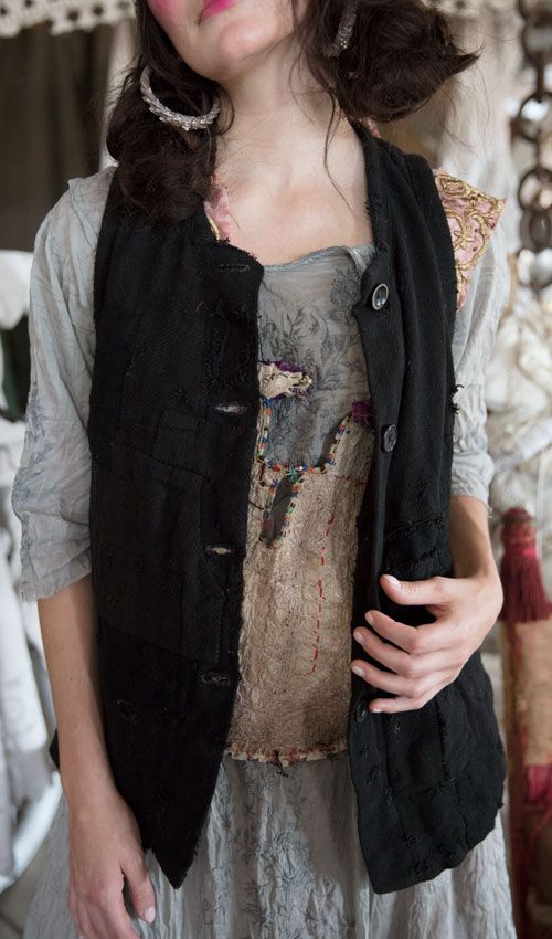 European Woven Cotton Sturla Vest with Layered Patches and Hand Stitching, Hand Sewn Button Holes