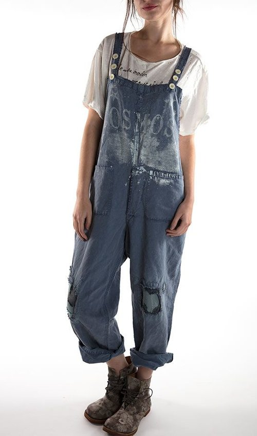 Cotton Linen Cosmos Overalls with Pockets, Adjustable Straps and Patches and Mending, Magnolia Pearl