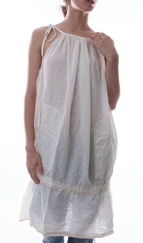 Swiss Dot Cotton Hidi Drawstring Dress with Front Pockets and Low Drawstring Ruffle in Ivory