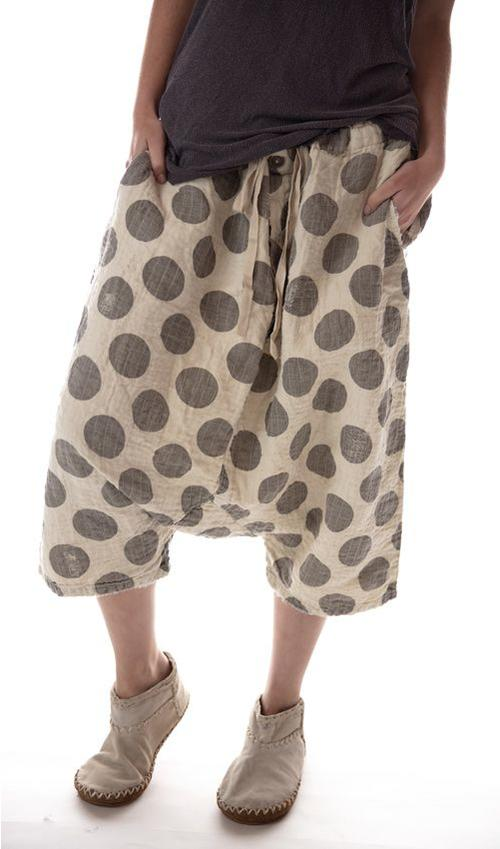 Quilted Linen Frankie Pants with Distressing and Mending, Drawstring Waist, Magnolia Pearl