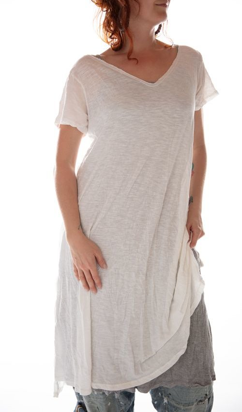 Cotton Jersey Venice T Dress with Raw Edging, Magnolia Pearl