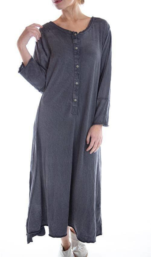 Cotton Jersey Birch Dress with Distressing, Four Button Placket, Three Quarter Sleeves, Magnolia Pearl
