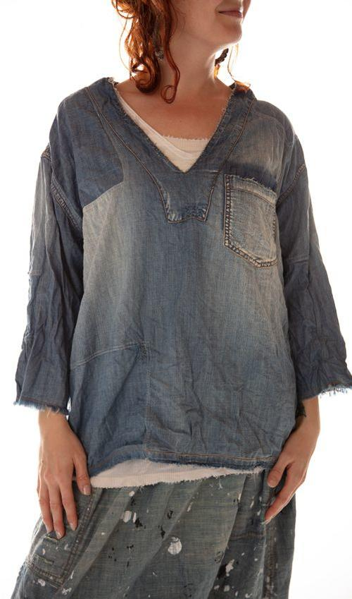 Cotton Denim Basil Pullover with Fading, Distressing and Mending, Magnolia Pearl